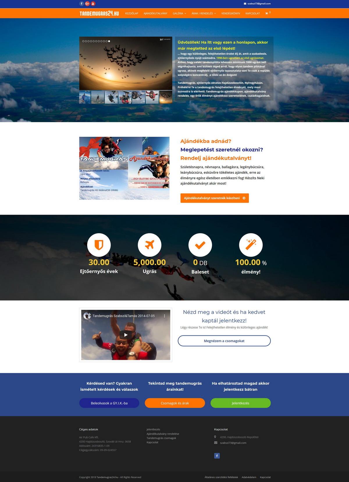 Tandemugras24.hu | Ejtőernyőzés, Tandemugrás